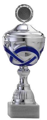 Zilveren beker met blauw accent - 12 Groottes