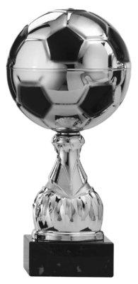 Voetbal beker zilver met zwarte accenten - 6 Groottes