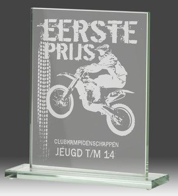 Glazen sportprijs met Laser gravure