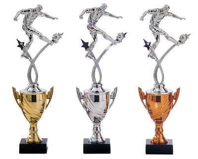 Voetbal beker in het goud, zilver of brons