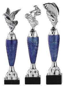 Sportprijs zilver met blauw accent