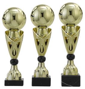 Volleybal sportprijs met gouden opzetstuk (voorbeeld)